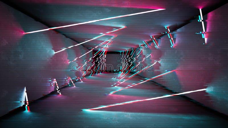 Les lampes au néon d'effet de problème conçoivent Conception minimale à la mode géométrique Fond de probl?me de Digital illustration stock