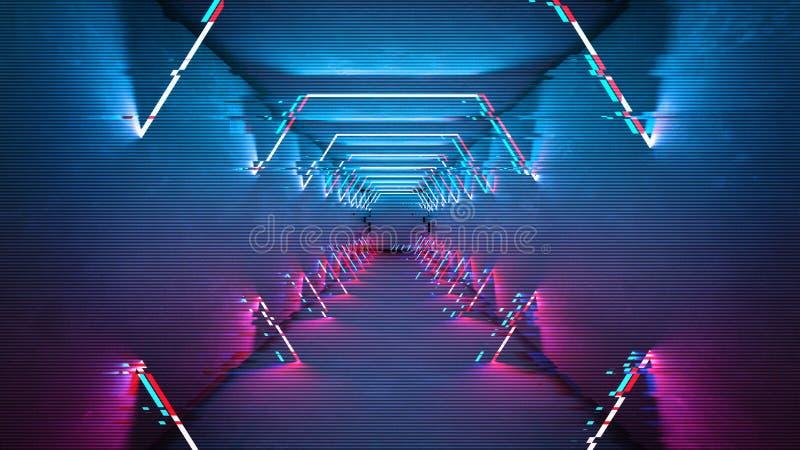 Les lampes au néon d'effet de problème conçoivent Conception minimale à la mode géométrique Fond de probl?me de Digital illustration libre de droits