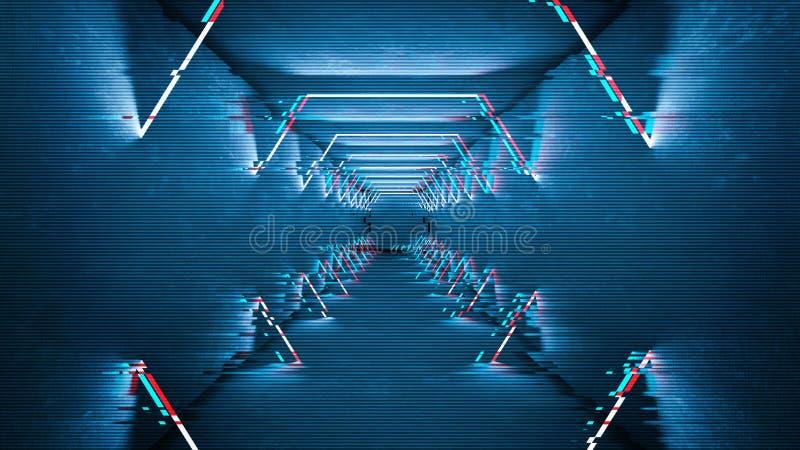 Les lampes au néon d'effet de problème conçoivent Conception minimale à la mode géométrique Fond de probl?me de Digital illustration de vecteur