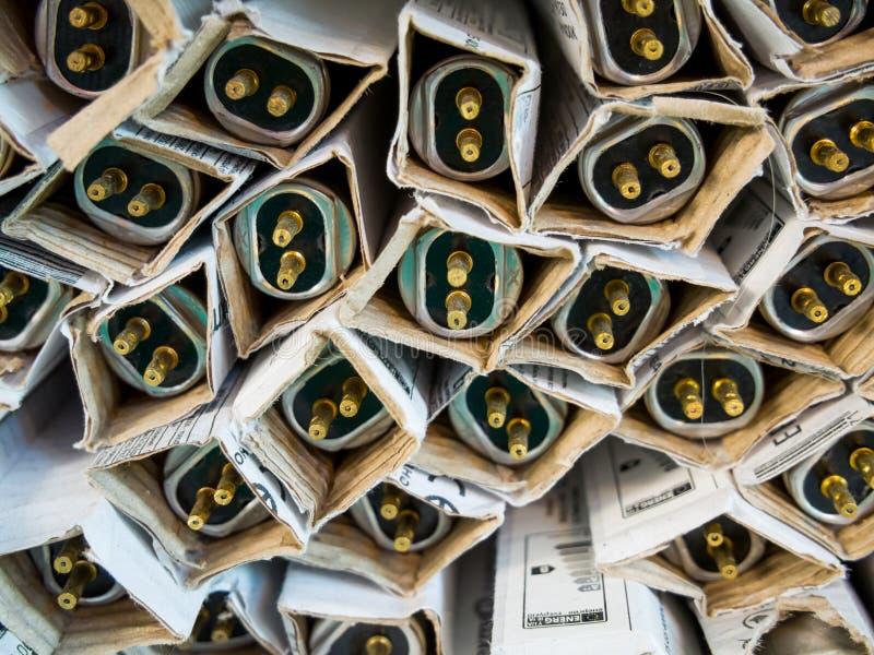 Les lampes fluorescentes pour des lampes sont dans l'emballage original image libre de droits
