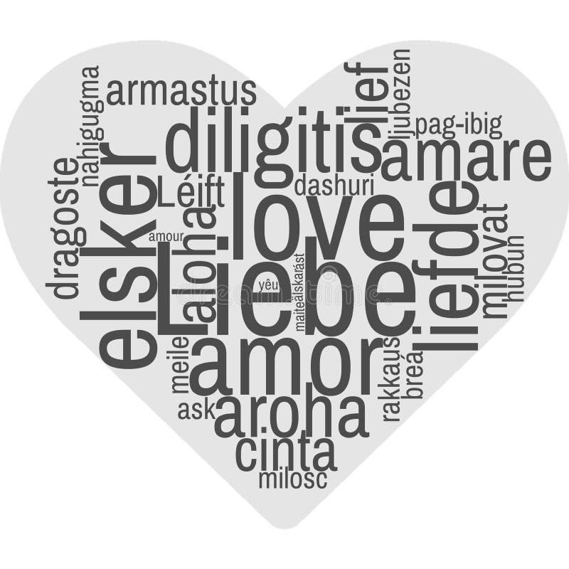Les langues/étiquettent le nuage/nuage de Word - AMOUR - dévotion se sentante d'affection d'intimité d'amour illustration de vecteur