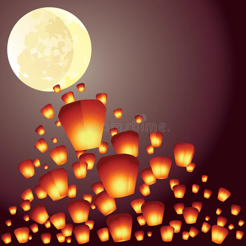 Les lanternes de souhait volent au-dessus de la pleine lune illustration de vecteur