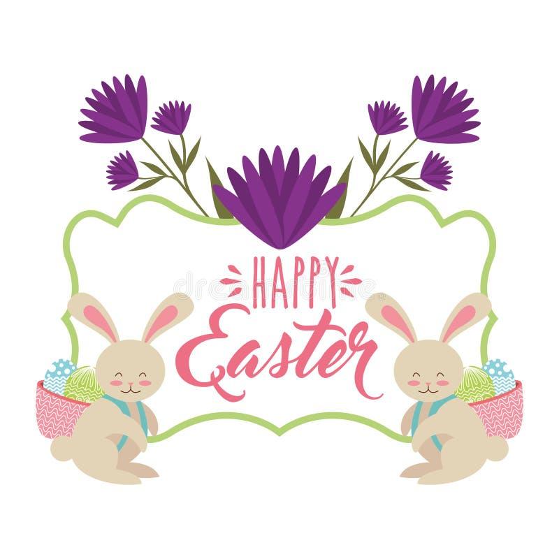 Les lapins avec le panier soutiennent dedans avec la carte de Pâques heureuse d'oeufs illustration de vecteur