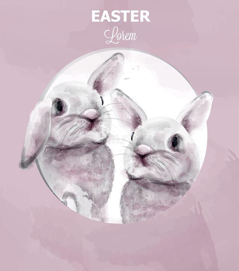 Les lapins de Pâques dirigent l'aquarelle Vacances mignonnes de carte d'animaux Milieux roses illustration stock