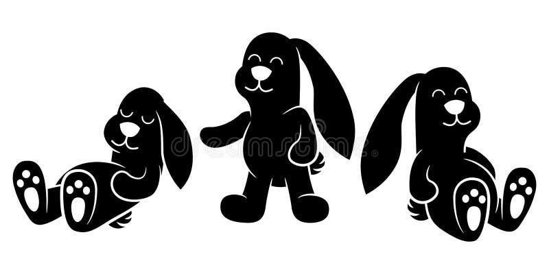 Les lapins mignons de bande dessinée dorment et jouent - la silhouette illustration de vecteur