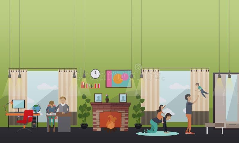 Les leçons et les loisirs avec le père dirigent l'illustration dans le style plat illustration stock