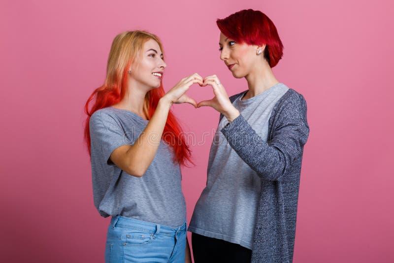 Les lesbiennes regardent l'un l'autre et font un chiffre de coeur sur un fond rose photographie stock