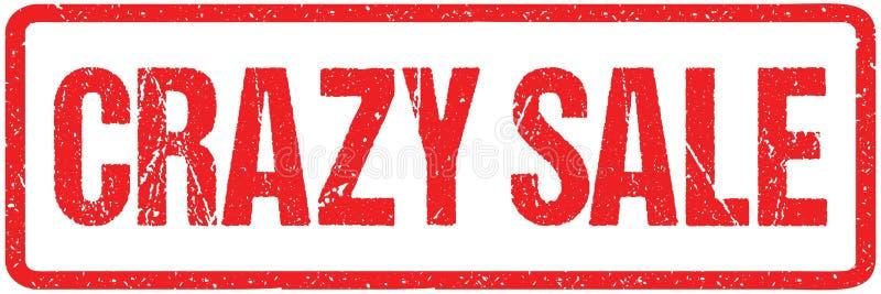 Les lettres approximatives de vente folle signent la typographie d'isolement sur le blanc Tampon en caoutchouc grunge d'encre rou illustration stock
