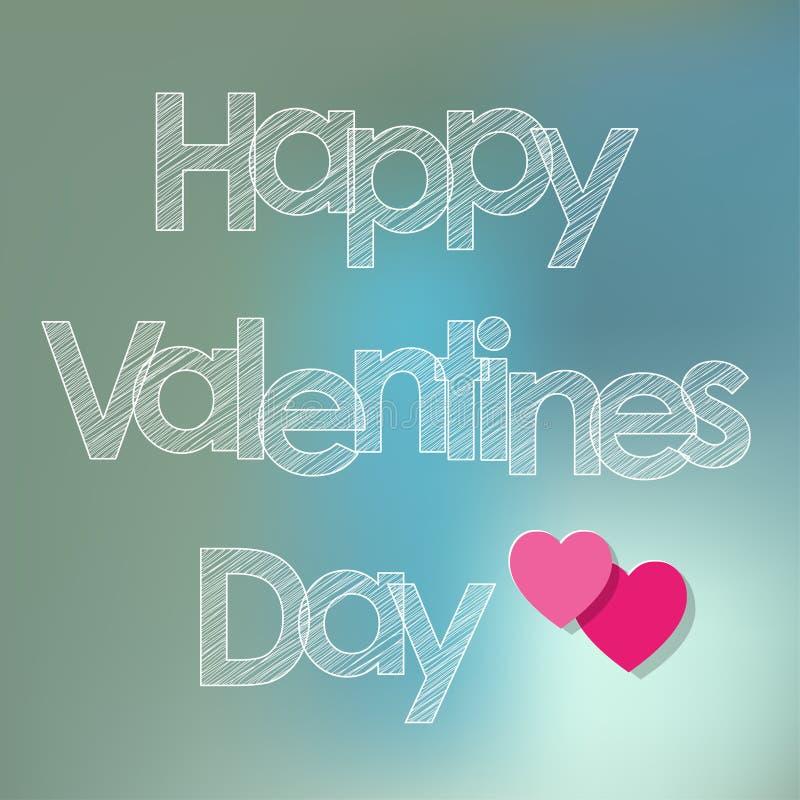 Les lettres blanches de griffonnage de carte postale de jour du ` s de Valentine avec des coeurs sur un bokeh bleu embrument le f illustration libre de droits