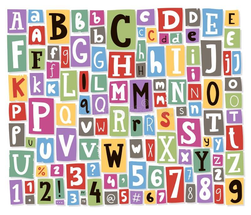Les lettres colorées d'alphabet de vecteur faites de collage des textes de papier d'ABC de police de magazine de journal ont coup illustration stock