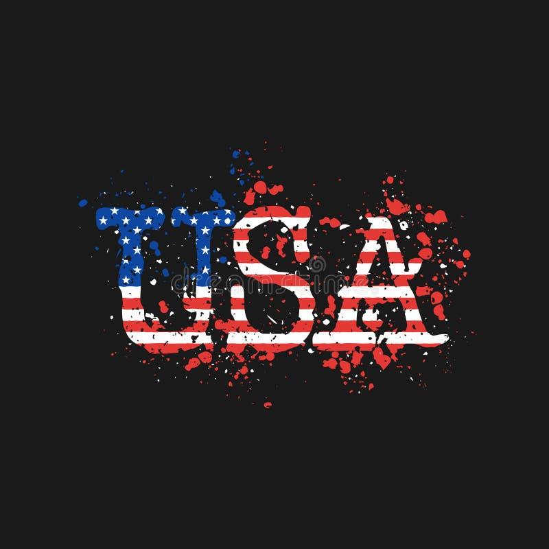 Les lettres Etats-Unis peintes par couleur éclabousse de la bannière étoilée du ` s de drapeau des Etats-Unis Illustration de vec illustration de vecteur