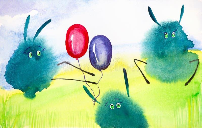 Les li?vres abstraits verts de baisse jouent avec des ballons sur la pelouse verte Illustration comique d'aquarelle illustration libre de droits