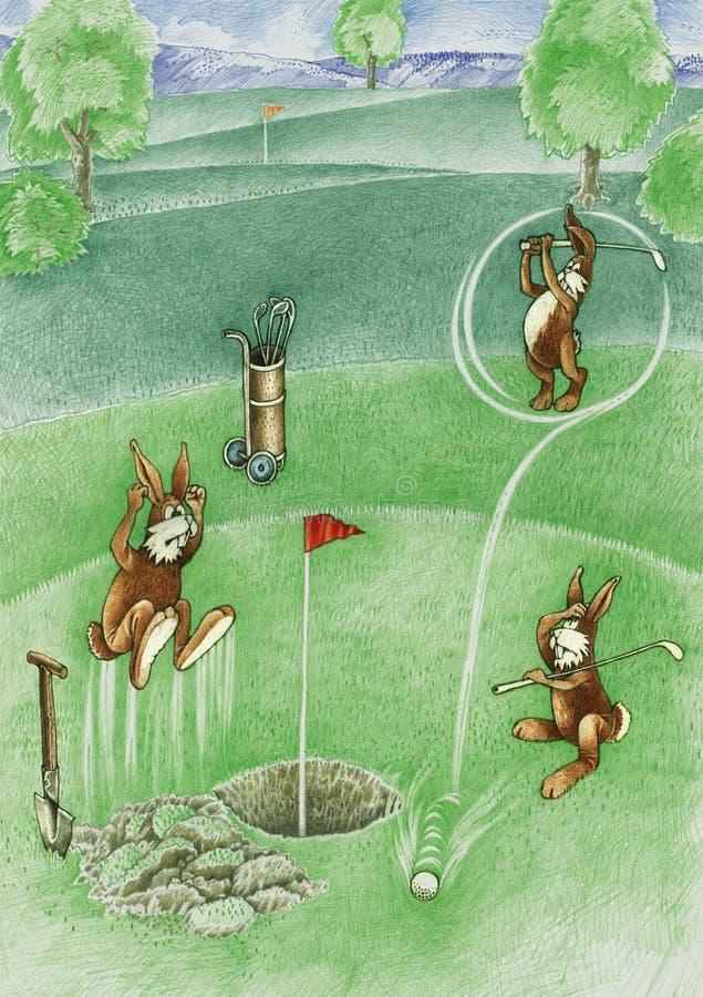 Les lièvres jouent le golf images libres de droits