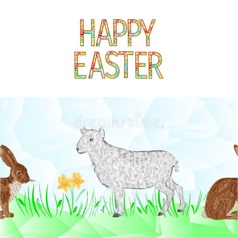 Les lièvres sans couture d'agneau de fond de frontière heureuse de Pâques avec des polygones de jonquille et d'herbe dirigent l'i illustration libre de droits