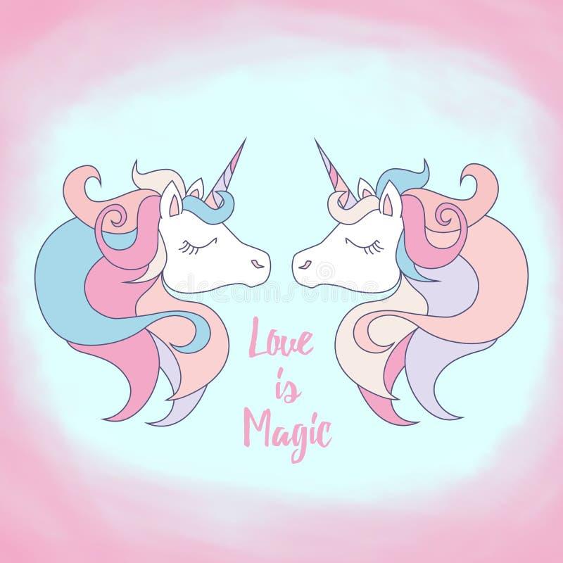 Les licornes embrassant, carte postale avec amour de mots est magique Thème d'amour et d'unicité photographie stock libre de droits
