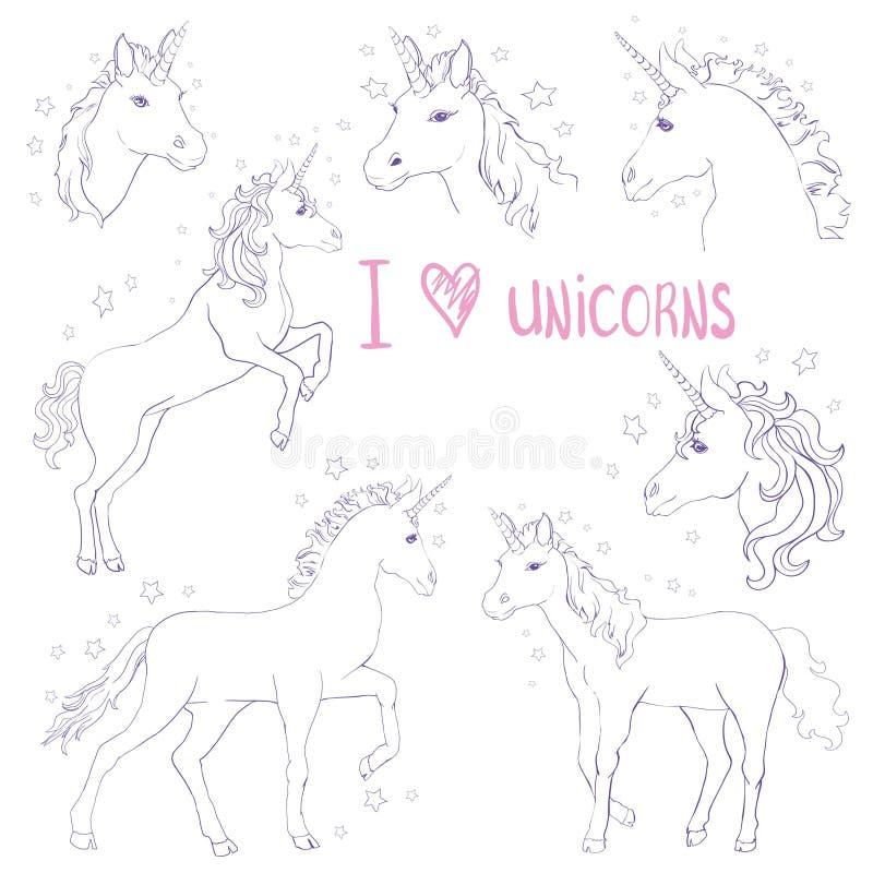 Les licornes sont vraie citation, dessin d'illustration de vecteur Copie graphique de licorne mignonne d'isolement sur le fond bl illustration stock