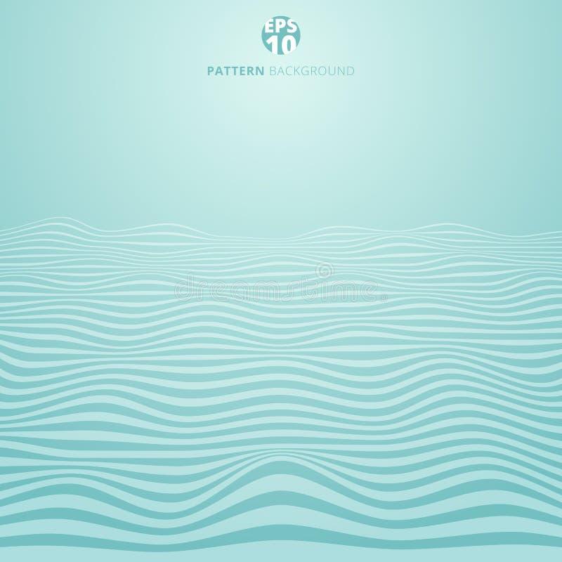 Les lignes abstraites ondulent sur le fond bleu, rayures onduleuses le modèle, RO illustration de vecteur