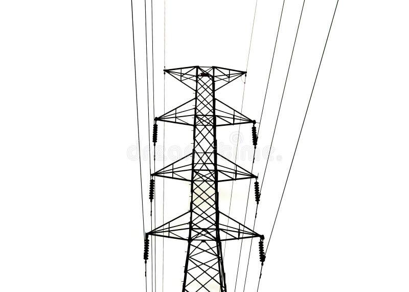 Les lignes de transmission à haute tension d'isolement sur le fond blanc photo libre de droits