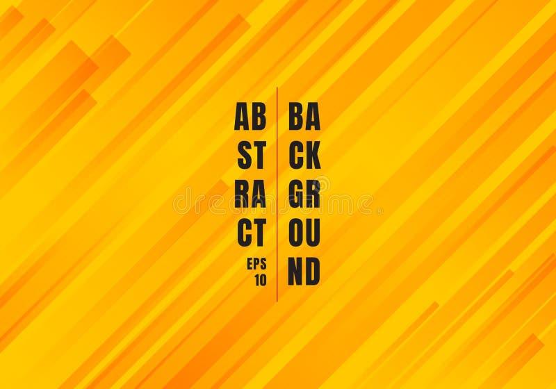 Les lignes diagonales jaunes de résumé et oranges géométriques de rayures modèlent le fond moderne de style illustration stock