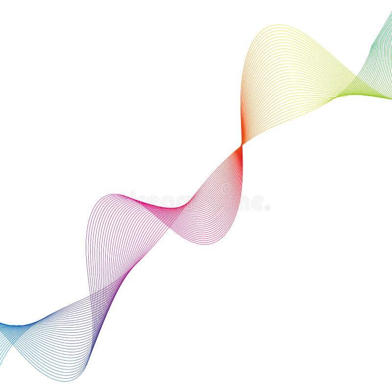 Les lignes incurvées douces de résumé conçoivent le fond technologique d'élément avec une ligne sous forme de Stylization de vagu illustration de vecteur