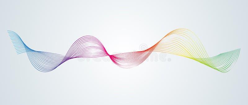 Les lignes incurvées douces de résumé conçoivent le fond technologique d'élément avec une ligne sous forme de Stylization de vagu illustration stock