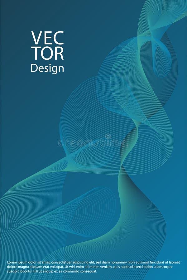 Les lignes incurvées ondulent les milieux abstraits de formes géométriques liquides de texture, mises en page de couverture réglé illustration libre de droits