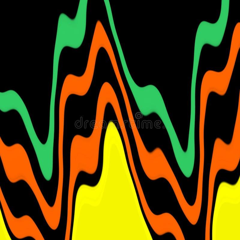 Les lignes jaunes foncées oranges vertes abstraites fond, couleurs, ombrage les graphiques abstraits Fond et texture abstraits illustration de vecteur