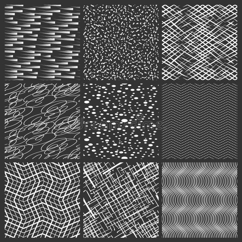 Les lignes, les taches et les traçages chaotiques noircissent les modèles blancs Ensemble sans couture de modèle de streep simple illustration libre de droits