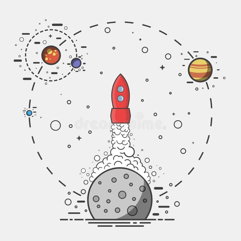 Les lignes minces icônes de vecteur de fusée d'espace extra-atmosphérique se tient le premier rôle dans la galaxie illustration libre de droits