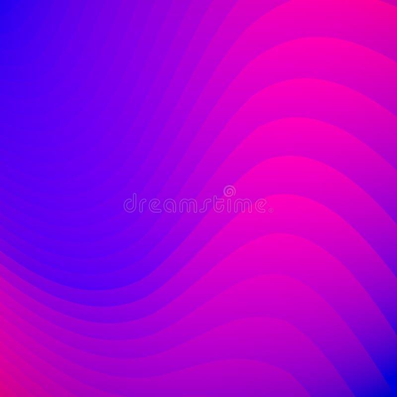Les lignes rayées abstraites de couleur bleue et rose de gradient ondulent le fond et la texture de modèle illustration stock