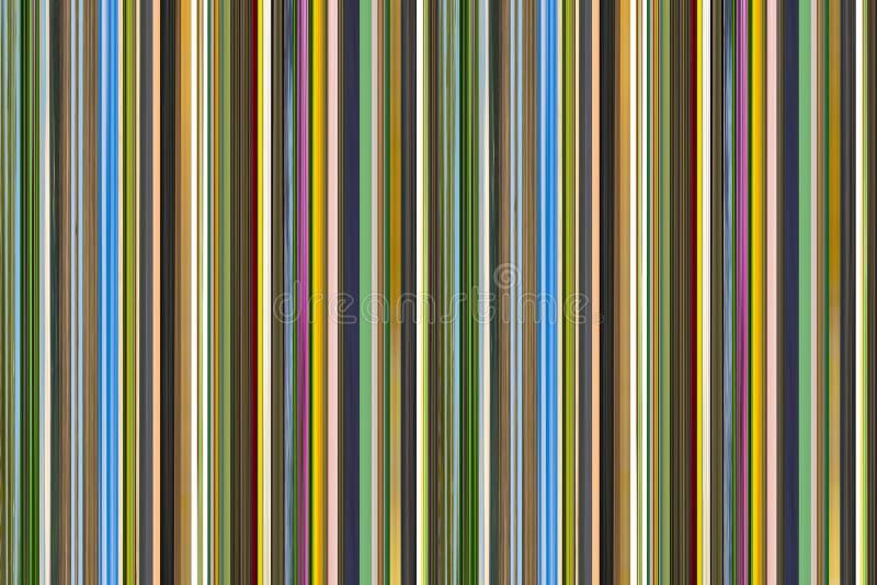 Les lignes verticales étroites beaucoup modèle brun vert-bleu ont répété le fond de code barres illustration stock