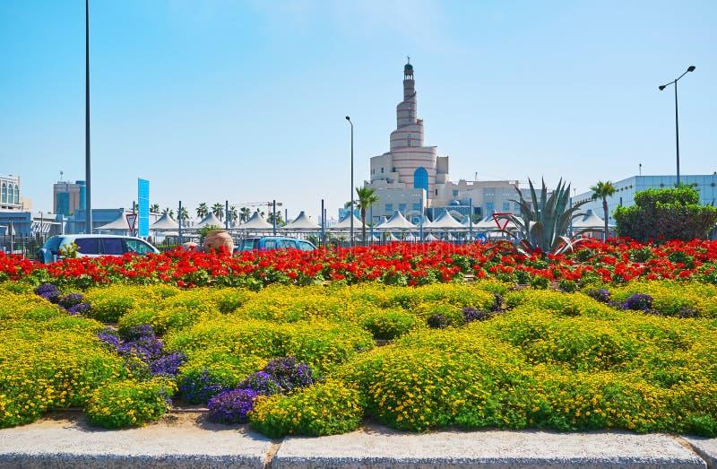 Les lits de fleur dans Doha, Qatar photos stock