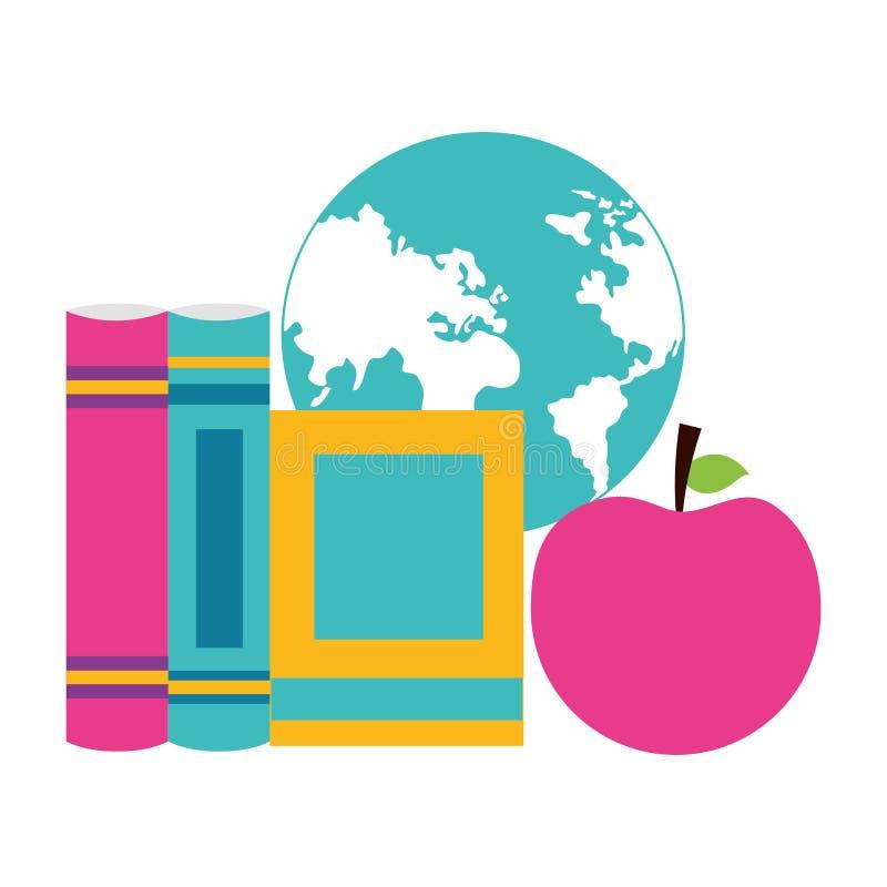 Les livres d'école tracent la pomme illustration stock