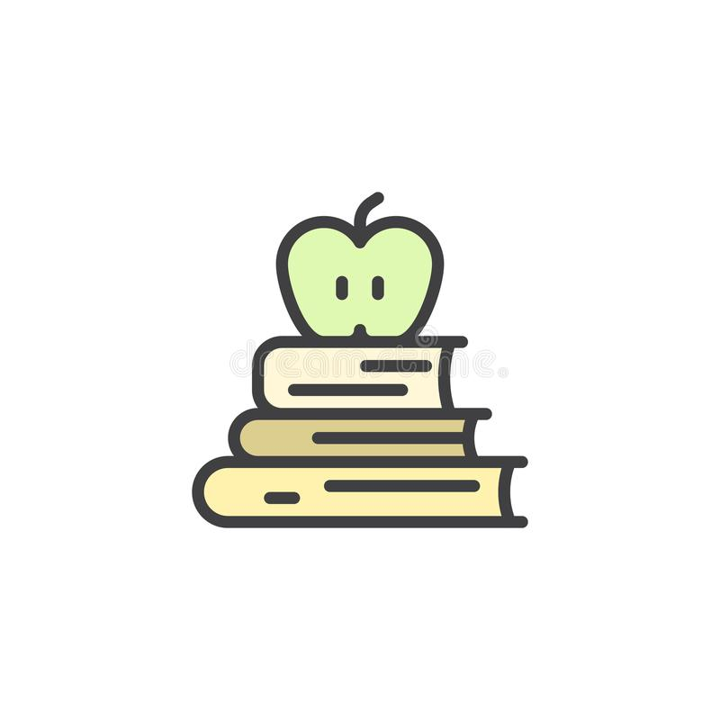 Les livres et la pomme sur le dessus ont rempli icône d'ensemble illustration stock