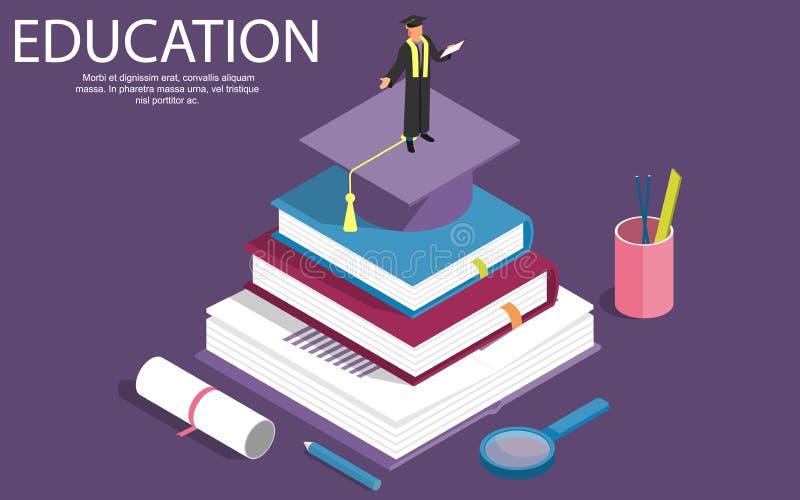 Les livres font un pas concept isométrique d'éducation Illustration de vecteur peut être employé pour la disposition de dérouleme illustration stock