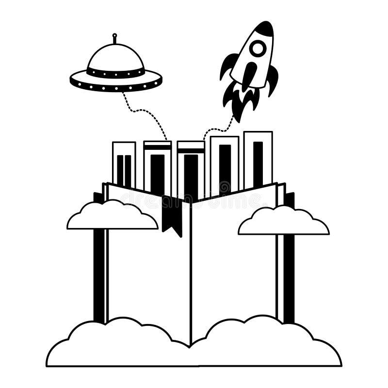 Les livres montent en flèche l'UFO illustration stock