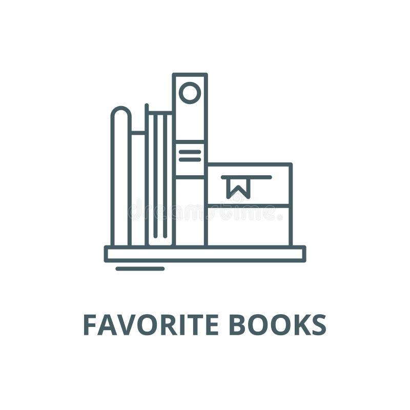 Les livres préférés dirigent la ligne icône, concept linéaire, signe d'ensemble, symbole illustration libre de droits