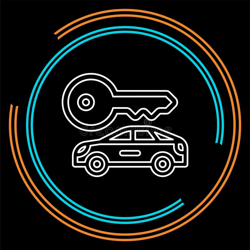 Les locations de voiture de vecteur marquent, logo, icône, emblème illustration stock