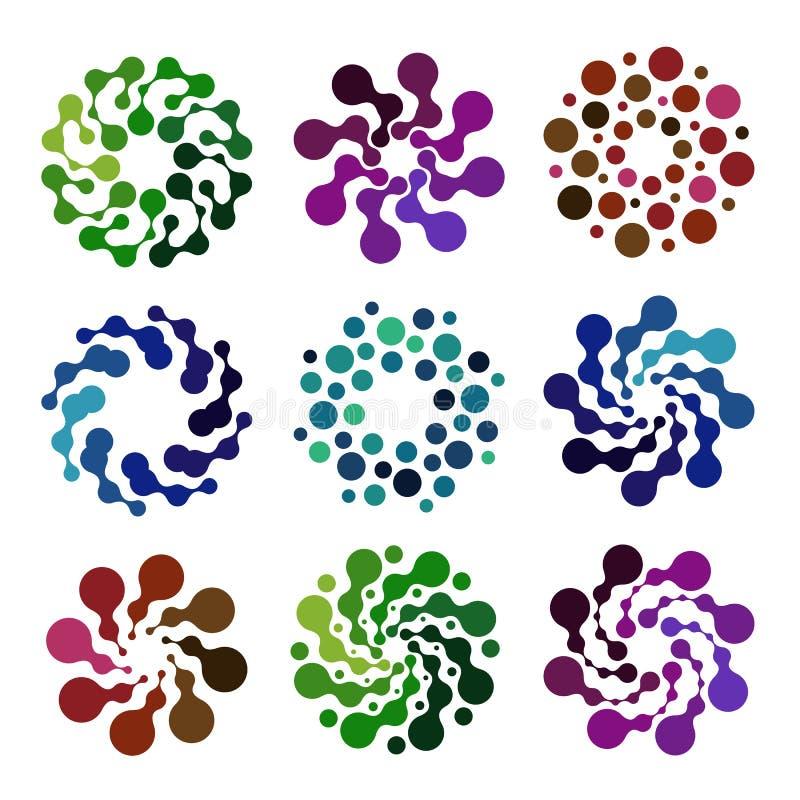 Les logos colorés abstraits d'isolement de forme ronde ont placé, les éléments décoratifs sur l'illustration blanche de vecteur d illustration libre de droits