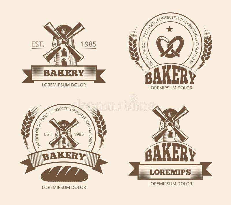 Les logos de boulangerie de vintage et de boutique de pain marque des emblèmes d'insignes illustration de vecteur