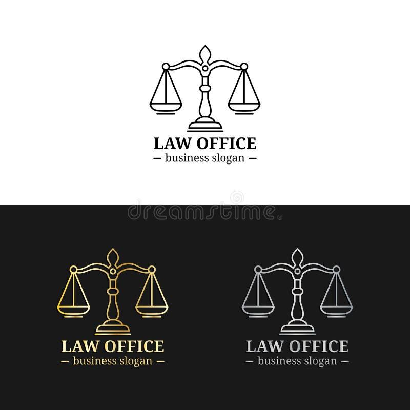 Les logos de cabinet juridique ont placé avec des échelles d'illustration de justice Dirigez la mandataire de vintage, labels d'a illustration stock