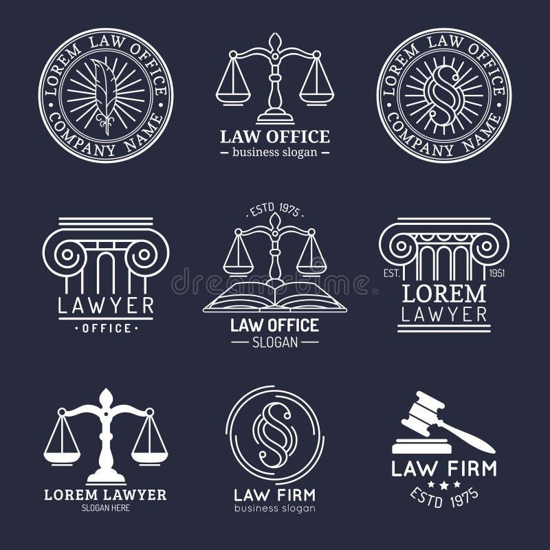 Les logos de cabinet juridique ont placé avec des échelles de justice, d'illustrations du marteau etc. La mandataire de vintage d illustration stock