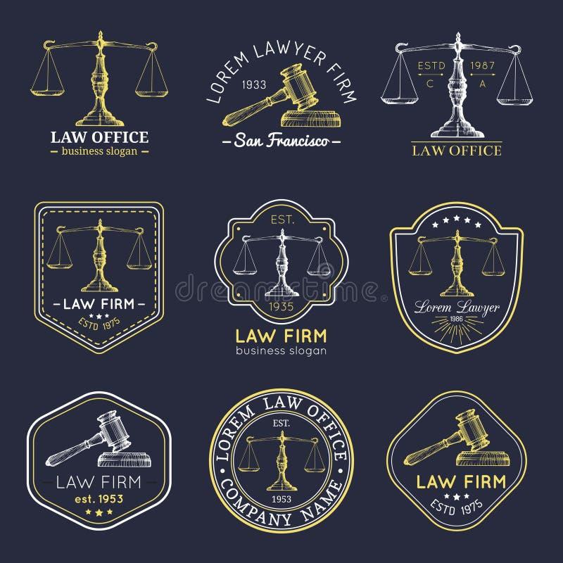 Les logos de cabinet juridique ont placé avec des échelles de justice, illustrations de marteau Dirigez la mandataire de vintage, illustration stock