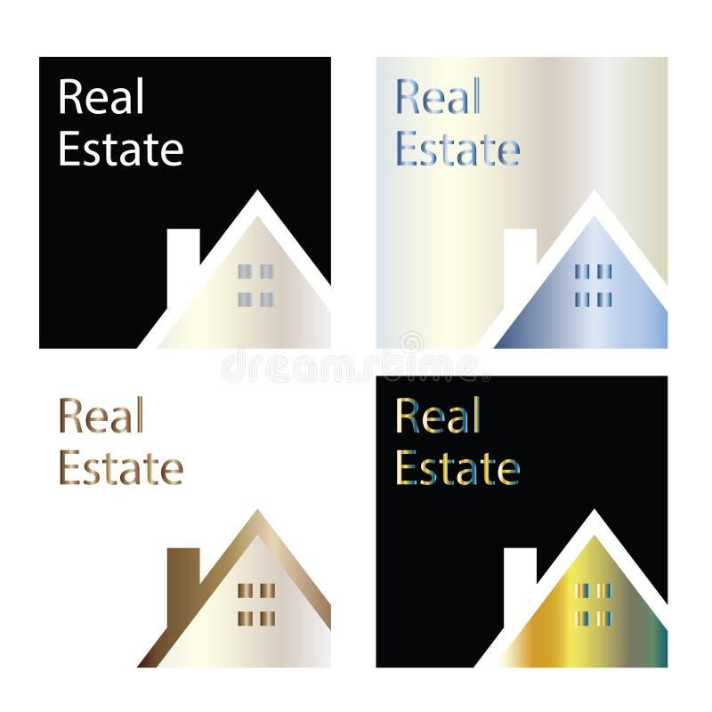 Les logos de société d'investissement immobilier - le vecteur quatre placez - logent le calibre de logo illustration libre de droits