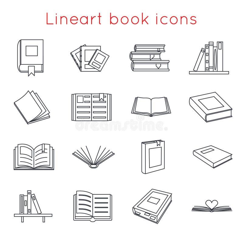 Les logos de symboles d'icônes de livre de Lineart ont placé le calibre pour l'illustration d'isolement isométrique de vecteur de illustration de vecteur