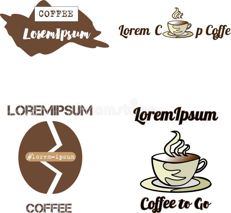 Les logos, les insignes et les labels de café conçoivent l'ensemble d'éléments Tasse, haricots illustration libre de droits