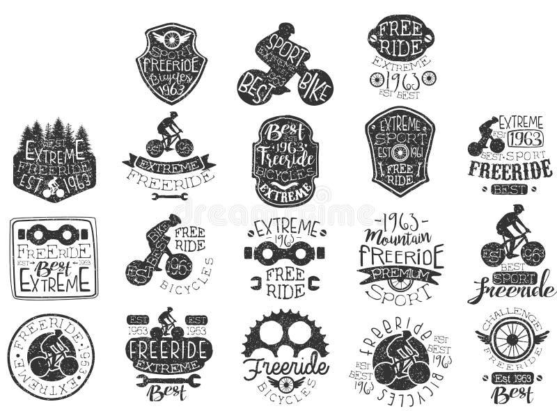Les logos noirs tirés par la main ont placé pour le thème de freeride, club faisant du vélo, sports extrêmes Vieux labels avec le illustration de vecteur