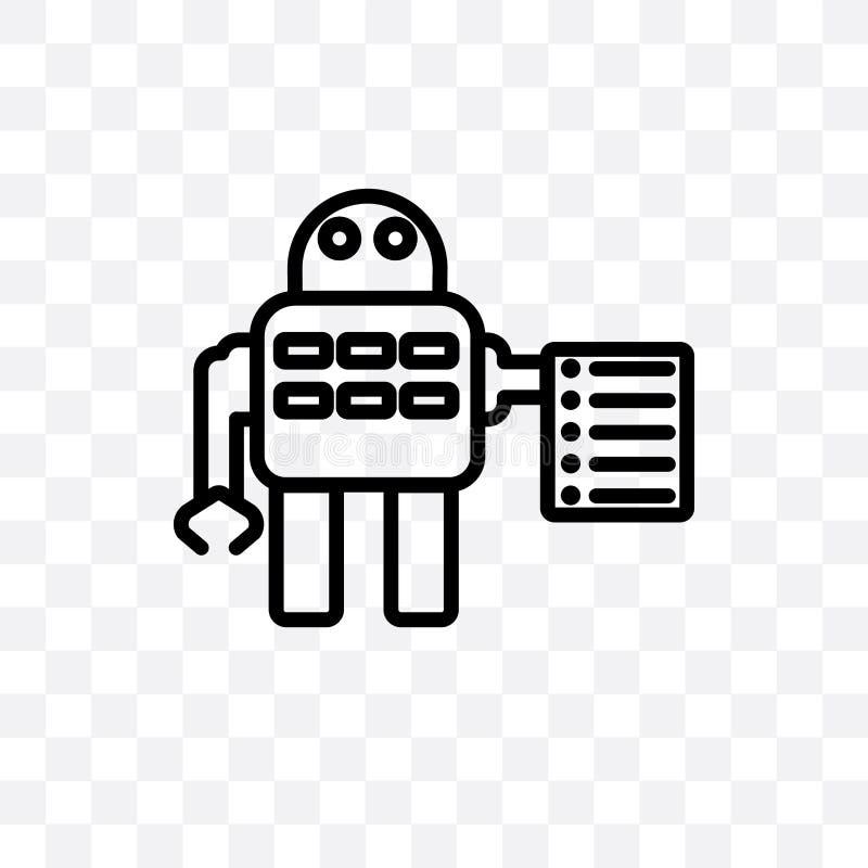 Les lois de l'icône linéaire de vecteur de robotique d'isolement sur le fond transparent, lois de concept de transparent de robot illustration libre de droits