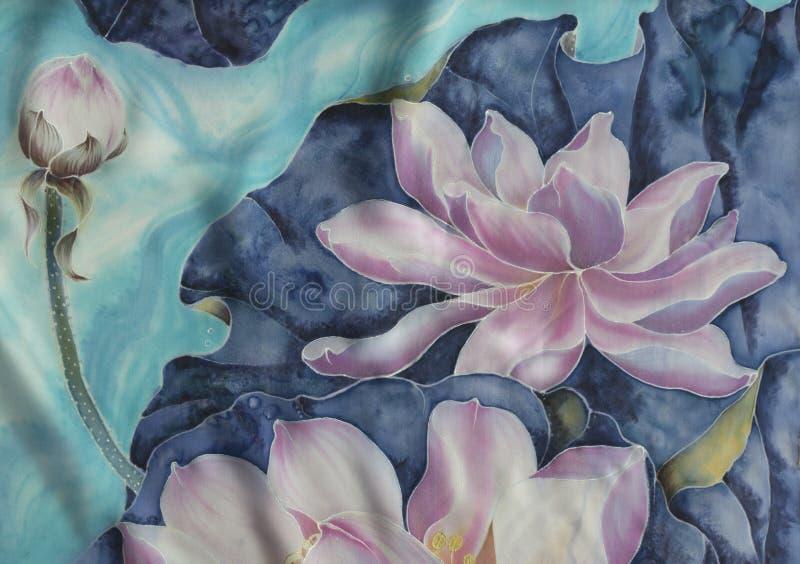 Les lotus batik Composition décorative des fleurs, feuilles, bourgeons Employez les matériaux imprimés, signes, articles, sites W illustration de vecteur