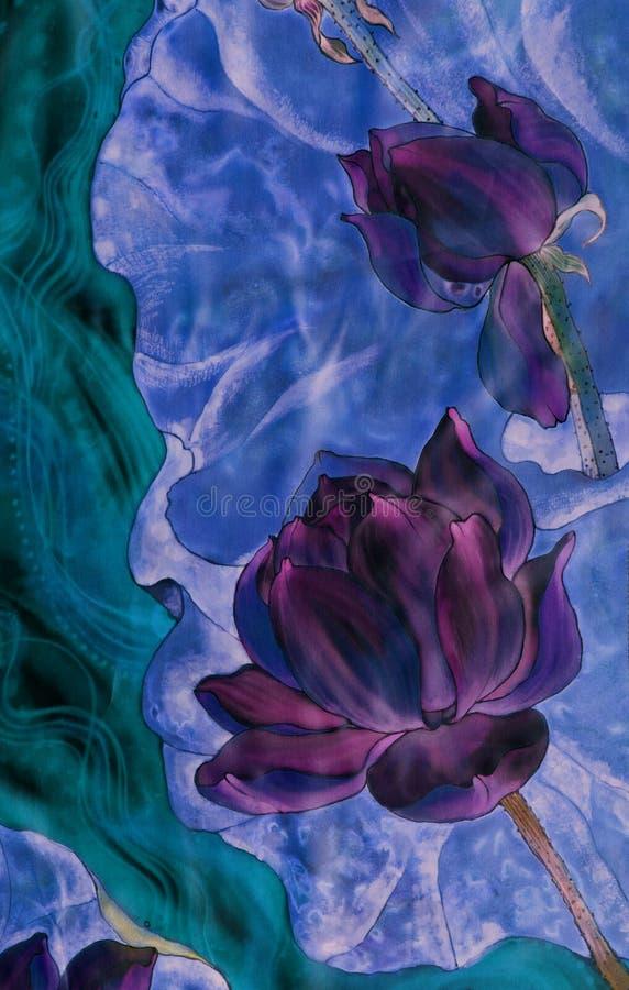 Les lotus batik Composition décorative des fleurs, feuilles, bourgeons Employez les matériaux imprimés, signes, articles, sites W illustration stock